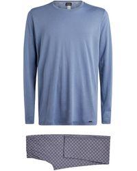 Hanro Pyjama mit Ornament-Print - Blau