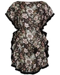 Zimmermann Belted Fringed Floral Kaftan - Black