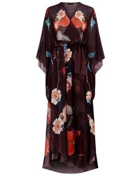 Meng - Floral Printed Silk Chiffon Wrap - Lyst