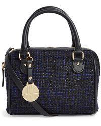 Harrods Mini Tweed Barrel Bag - Blue