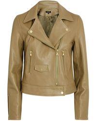 ME+EM Leather Biker Jacket - Green