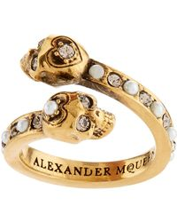 Alexander McQueen   Crystal Twin Skull Ring   Lyst