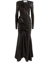The Attico Ruched Sequin Maxi Dress - Black
