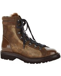 Brunello Cucinelli - Multi-texture Lace-up Hiking Boots - Lyst