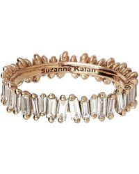 Suzanne Kalan Rose Gold Baguette Diamond Ring - White