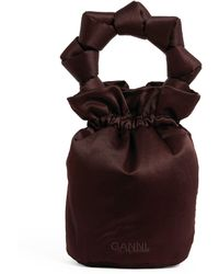 Ganni Mini Satin Knotted Pouch Bag - Brown