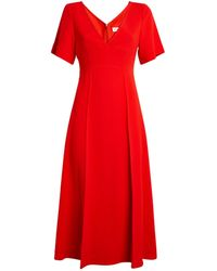 Victoria Beckham V-neck Midi Dress - Red