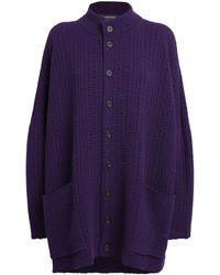 Eskandar Knitted High-neck Cardigan - Purple