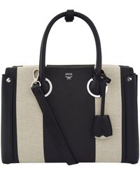 MCM - Striped Medium Milla Tote Bag, Black, One Size - Lyst