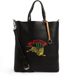 KENZO Leather Jumping Tiger Tote Bag - Black