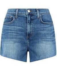 L'Agence Ryland High-waist Zip Shorts - Blue