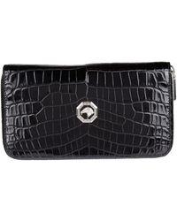 Stefano Ricci Crocodile Zip-around Wallet - Black
