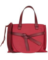 Loewe - Small Leather Gate Top Handle Bag - Lyst