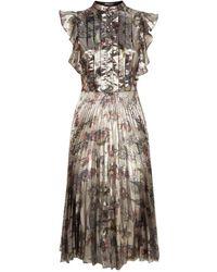 Markus Lupfer - Poppy Pleated Midi Dress - Lyst