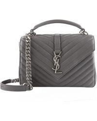 Saint Laurent Medium Leather Matellas Collge Shoulder Bag - Gray