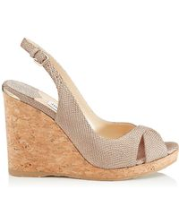 Jimmy Choo - Amely 105 Leather Slingback Wedge Sandals - Lyst