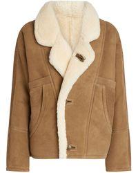 Sandro Leather Shearling Coat - Green