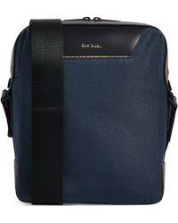 Paul Smith Leather-trimmed Messenger Bag - Blue