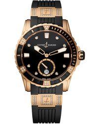 Ulysse Nardin Rose Gold And Diamond Lady Diver Watch 40mm - Black