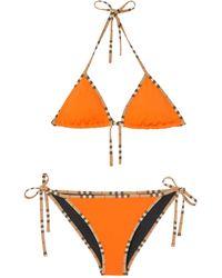 Burberry Icon Stripe Bikini - Orange