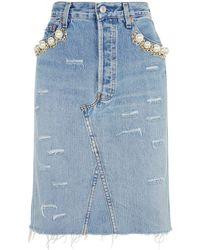 Forte Couture - Catene Pearl Denim Skirt - Lyst