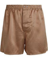 Zimmerli Silk Geometric Print Boxer Shorts - Black