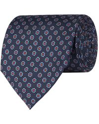 Pal Zileri Silk Flower Pattern Tie - Blue