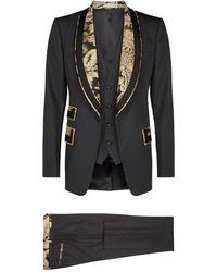 Dolce & Gabbana Brocade Trim Three-piece Suit - Black