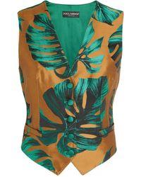 Dolce & Gabbana Leaf Jacquard Waistcoat - Green