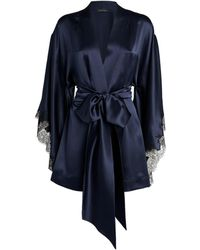 Carine Gilson Silk Kimono Robe - Blue
