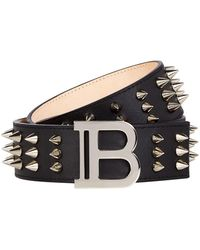 Balmain Spike Logo Buckle Belt - Black