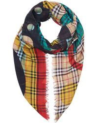 Burberry - Poster Graphic Print Wool Silk Large Square Scarf - Lyst