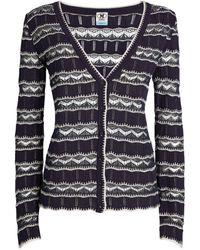 M Missoni Long-sleeved Stripe Cardigan - Blue