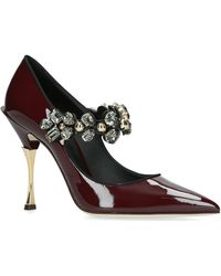 Dolce & Gabbana - Mary Janes In Varnish With Jewel Strap - Lyst