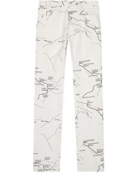 Moncler Skinny Map Print Jeans - Grey