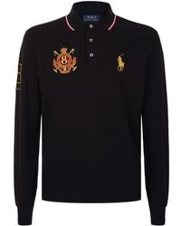 Polo Ralph Lauren - Crest Embroidered Long Sleeve Polo Top - Lyst
