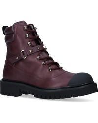 Valentino Garavani Garavani Leather Rockstud Combat Boots - Purple