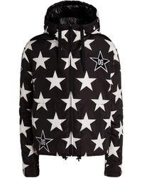 Dolce & Gabbana Star Print Padded Reversible Coat - Black