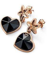 Baccarat Rose Gold Vermeil And Crystal Étoile De Mon Coeur Earrings - Black