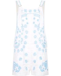 Juliet Dunn - Embroidered Dungaree Shorts - Lyst