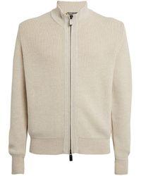 Canali Wool Zip-up Cardigan - White