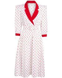 Rodarte Belted Polka Dot Midi Dress - White