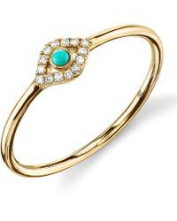 Sydney Evan - Turquoise Diamond Evil Eye Gold Ring - Lyst