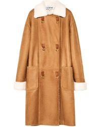 Loewe Oversized Shearling Coat - Brown