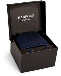 Harrods Lightning Bolt Tie And Cufflinks Gift Set - Blue
