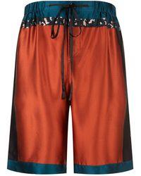 Meng - Silk Colour Block Lounge Shorts - Lyst
