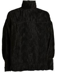 Ganni Satin Pleated High-neck Top - Black