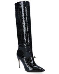 Jennifer Chamandi Croc-embossed Cece Knee-high Boots 105 - Black