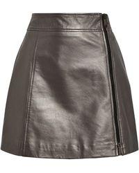 MAX&Co. Leather Mini Skirt - Grey