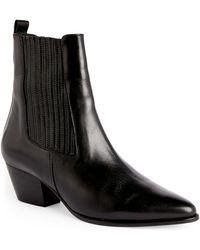 Sandro Leather Western Boots - Black
